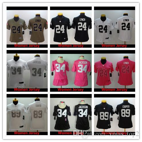 promo code 9558a 35f3e 2019 Raiders 24 Marshawn Lynch Women Football Jersey Stitched Embroidery 34  Bo Jackson 89 Amari Cooper Color Rush Women Football Shirt