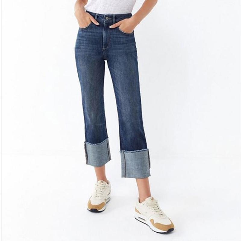2019 2019 High Street Loose Fit Fashion Straight Jeans Women Middle