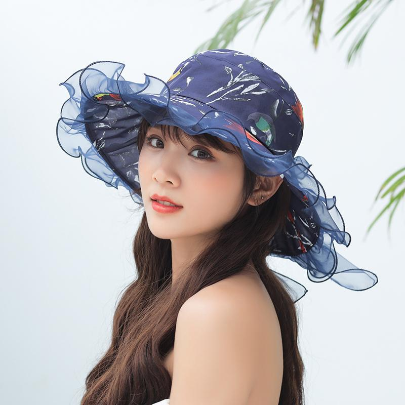 fa709188d 2019 Summer Sun Hats For Women Beach Hat casual Wide Brim Foldable Outdoor  Anti-UV Caps adjustable Lace wave