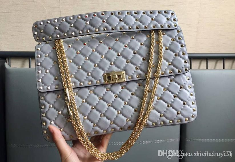 New style big size L30cm imported head lambskin genuine leather thirteen colors with light gold rivets top high quality women shoulder bag