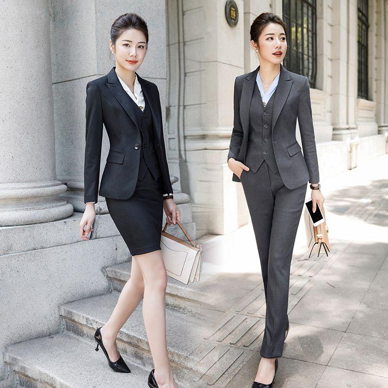 85dbf8dd2 Trajes de mujer de negocios de estilo nuevo para damas de oficina Conjunto  de 2 piezas pantalones trajes de traje femme elegante más el tamaño Ropa ...