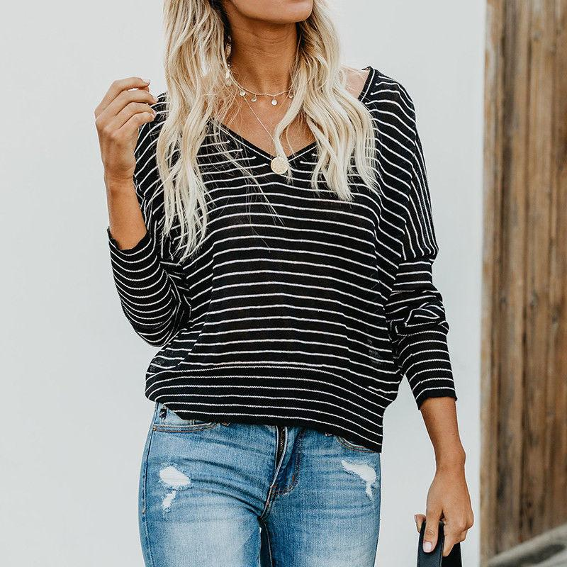 48a77497b8d8d0 Women T-Shirt Long Sleeve Loose T Shirts Fashion Ladies Summer Casual  Striped V Neck Tees Tops Autumn Online with  29.25 Piece on Feeling06 s  Store ...