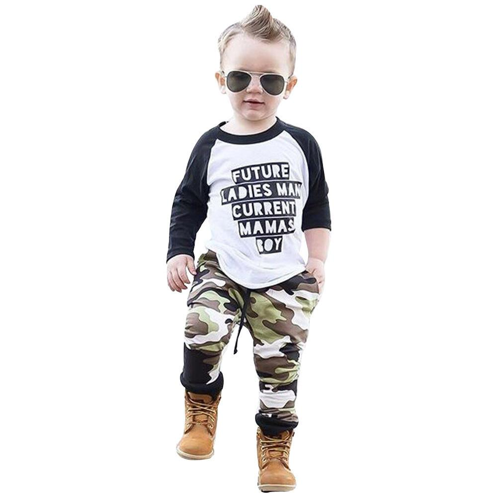 3eceb20ce good quality Fashion kids clothes boys 2PCs Baby Boy Clothes Letter T-shirt  Tops Camouflage Pants Outfits Set Clothing Set roupas