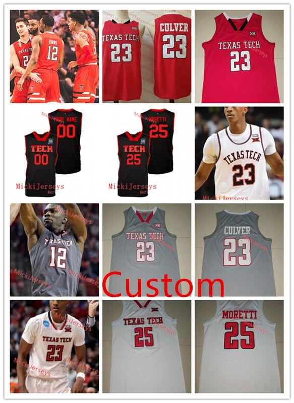 c05afc6e0a7 2019 Custom Texas Tech Red Raiders Basketball Jersey Jarrett Culver Davide  Moretti Khavon Moore Brandone Francis Kyler Edwards Texas Tech Jersey From  ...