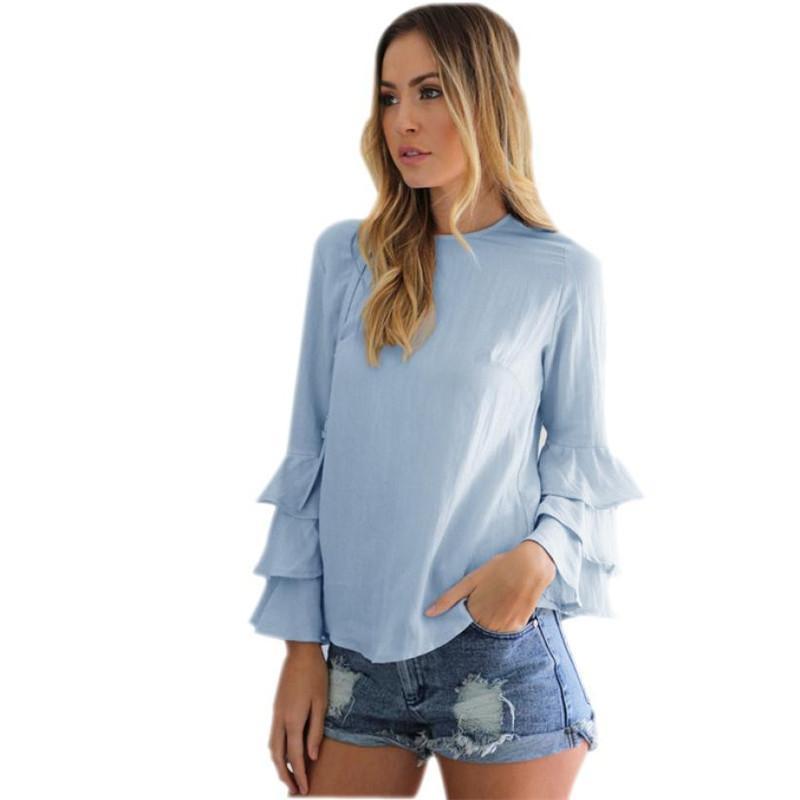 ba0f7d7f0 Compre Moda Mujer Blusas Camisas Para Damas Otoño Elegante Sólido Blusas  Ocasionales Flojos Tops Volante De Manga Larga Blusa Camicie Donna A  25.73  Del ...