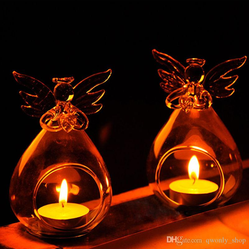 Romantic Angel Crystal Glass Candle Holder Hanging Tea Light Lantern Candlestick Burner Vase DIY Wedding Party Decoration