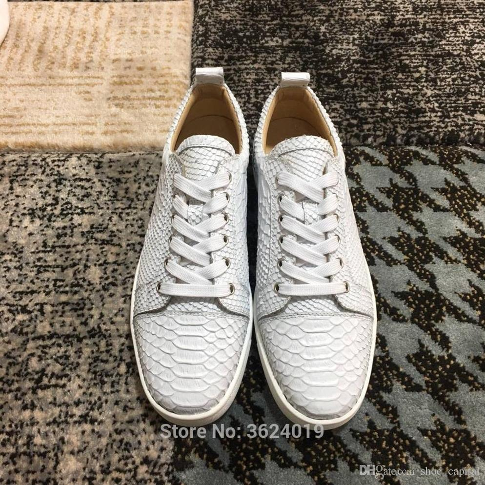 Outdoor cl andgz White Knife cut Python skin Lace-Up Rivets Low-Cut Red  Bottom shoes Sneakers leather casual men s flat 2018 #55368