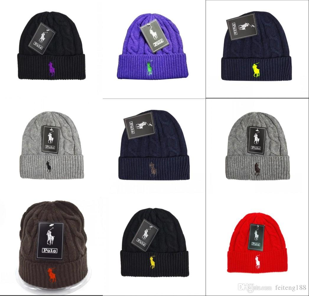 2019 New Brand Polo Cap Knits Hats Sport Beanies With Women Polo Knitted Hat  Skullies Warm Rangers Winter Hats Pom Pom Beanies Bucket Hats Beanie From  ... 279fae8255c