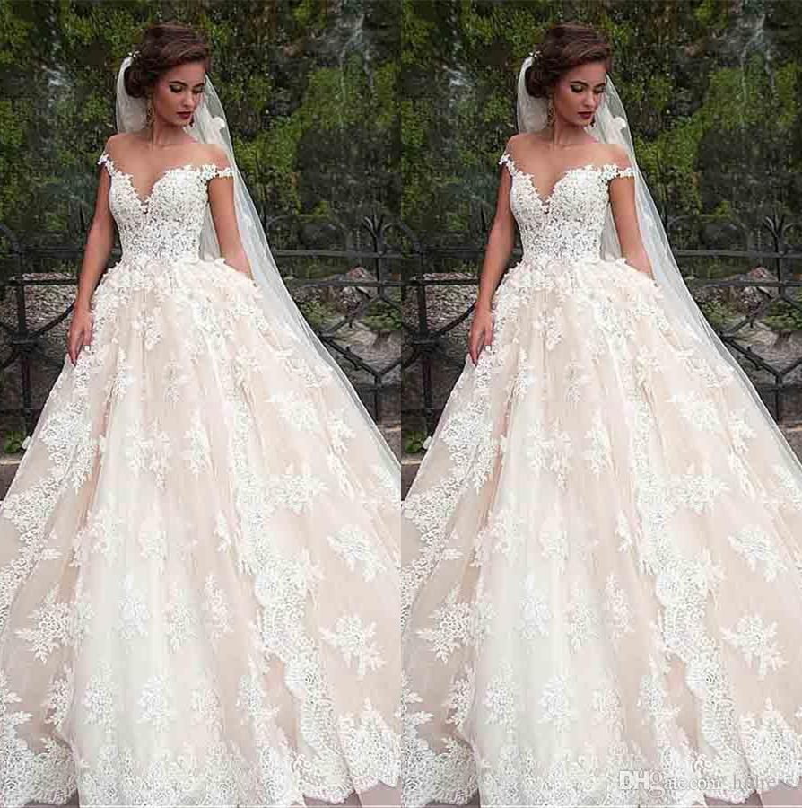 00f2d779c9 Elegant Ball Gown Wedding Dresses Lace Appliques Wedding Dress Long Tail  Wedding Dress Off Shoulder Bridal Gown Robe De Mariée Best Wedding Gowns  Bridal ...
