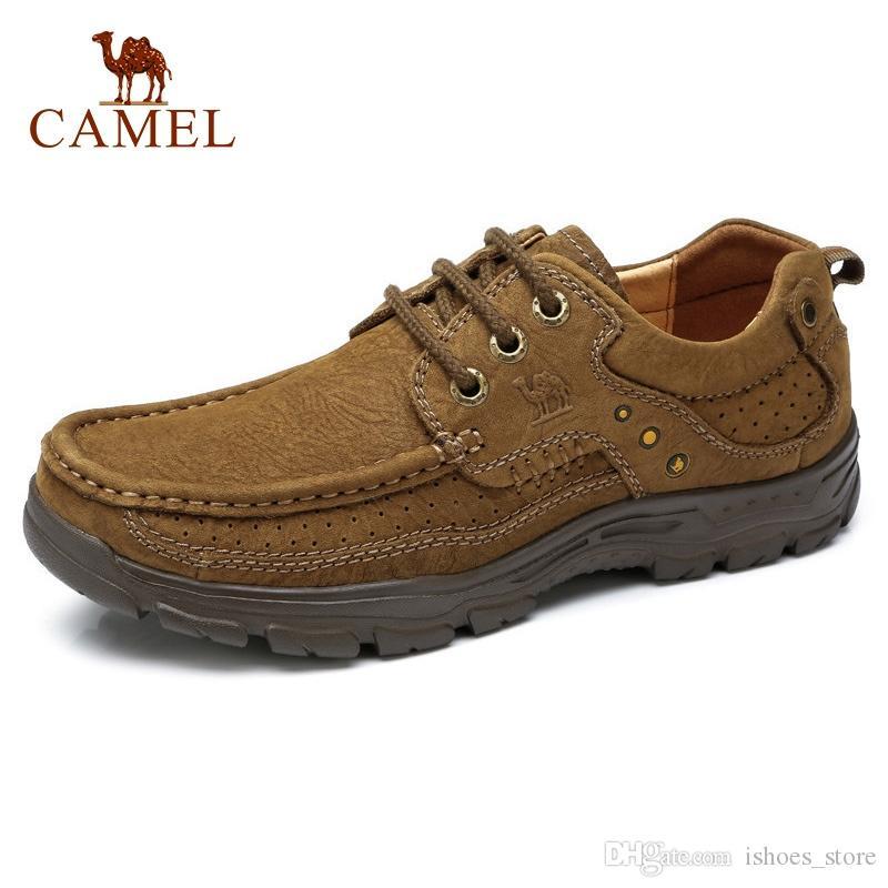 0ace8b1f32 Compre Camelo Genuíno Couro Homens Sapatos Masculinos De Negócios De Moda  Outono Casuais Homens Se Vestem Sapatos De Camurça Macio Calçado Mocassim  ...