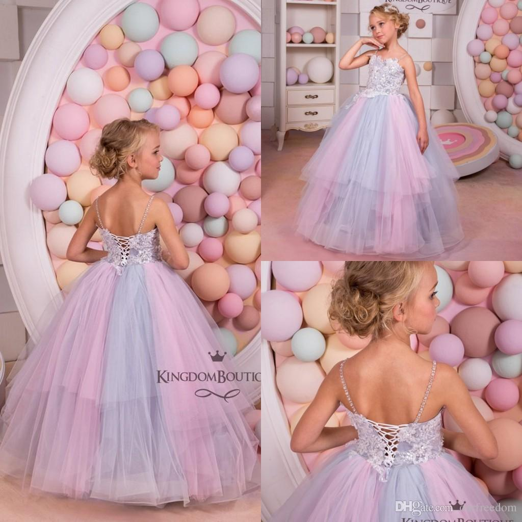 2019 Pink And Grey Tulle Flower Girl Dress Birthday Wedding Party