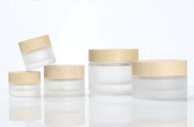 Frosted Glass Cream Jar with Wood Lid Makeup Skin Care Lotion Pot Cosmetic Container Packaging Bottles 5g 10g 15g 30g 50g