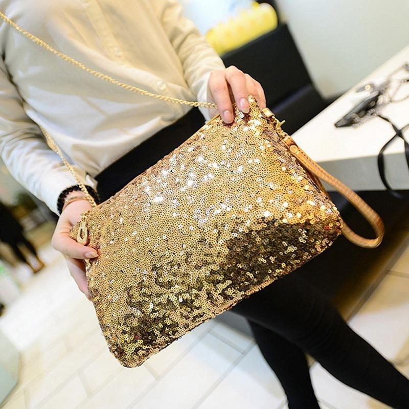 Glitter Sequins Handbag Fashion Zipper Sparkling Party Evening Envelope Handbags Clutch Bag For Women Wallet Tote bolso mujer