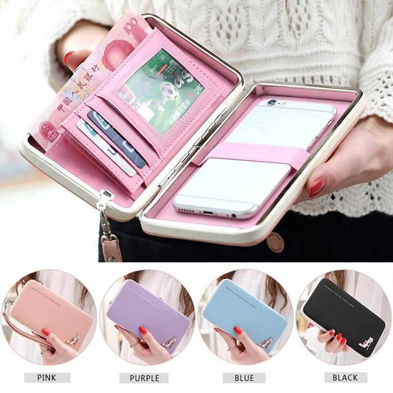 Lovely Lady Wallets Women Long Wallets Purses Clutch Bags Phone Case For iPhone 6 Plus Lady Cute Coin Purse WML99