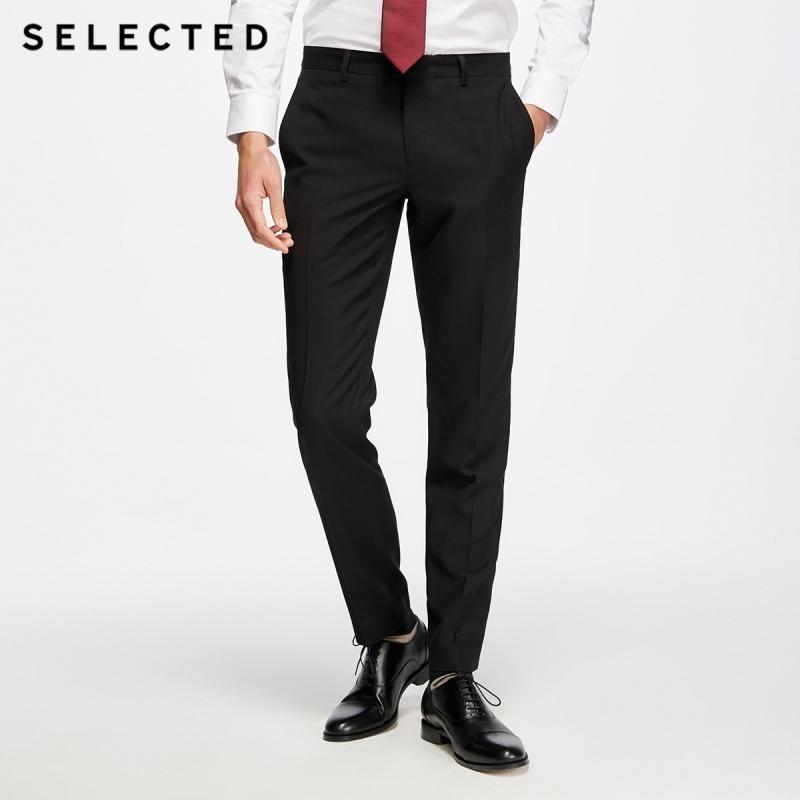 2d6dedadb70 SELECTED Men s Straight Fit Pure Color Slim Drapery Suit Pants T ...