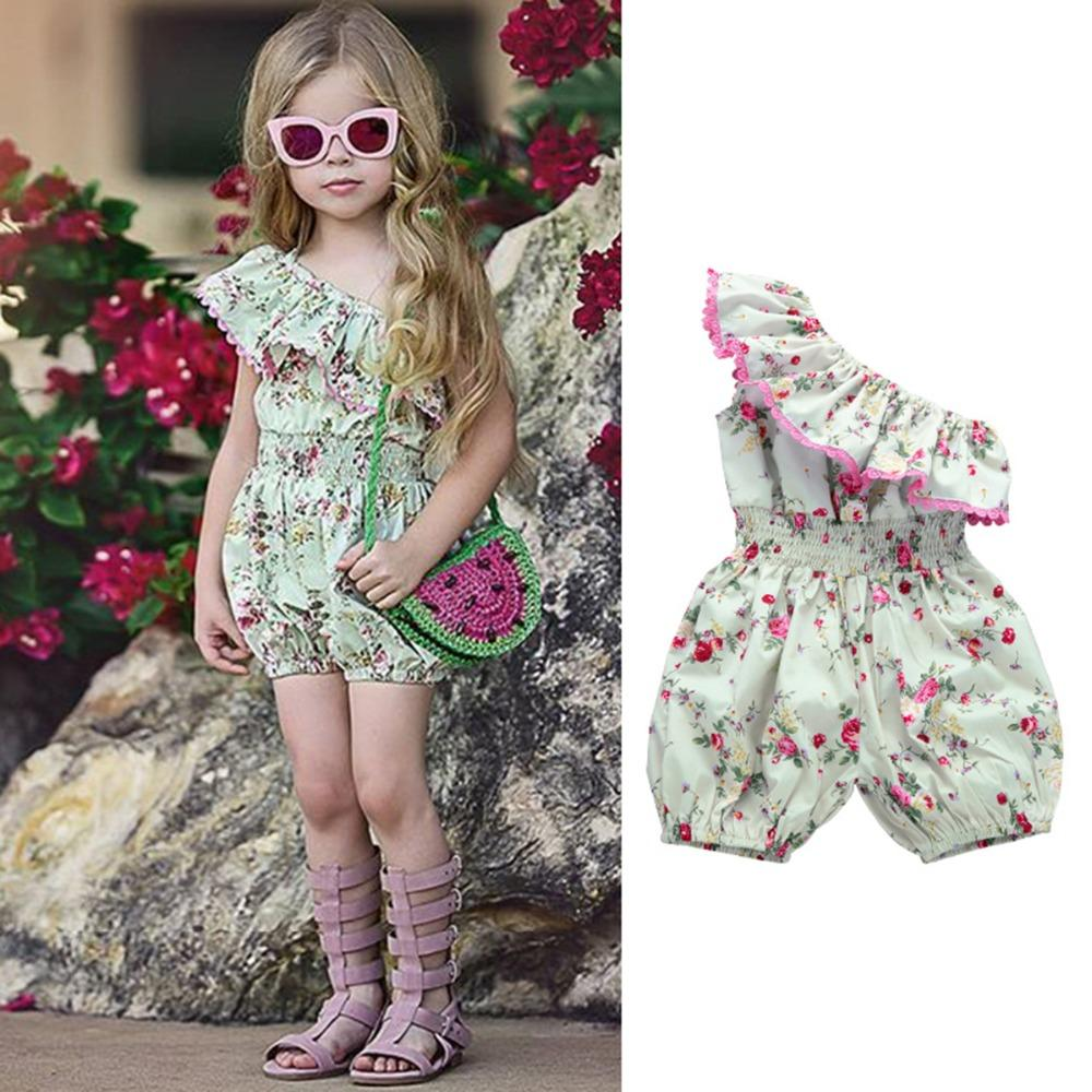 7144f1d2469 2019 Toddler Kids Baby Girl Clothes Rompers Floral Off Shoulder Casual Cute Romper  Jumpsuit Outfit Clothes Girls 6M 5T From Newyearable