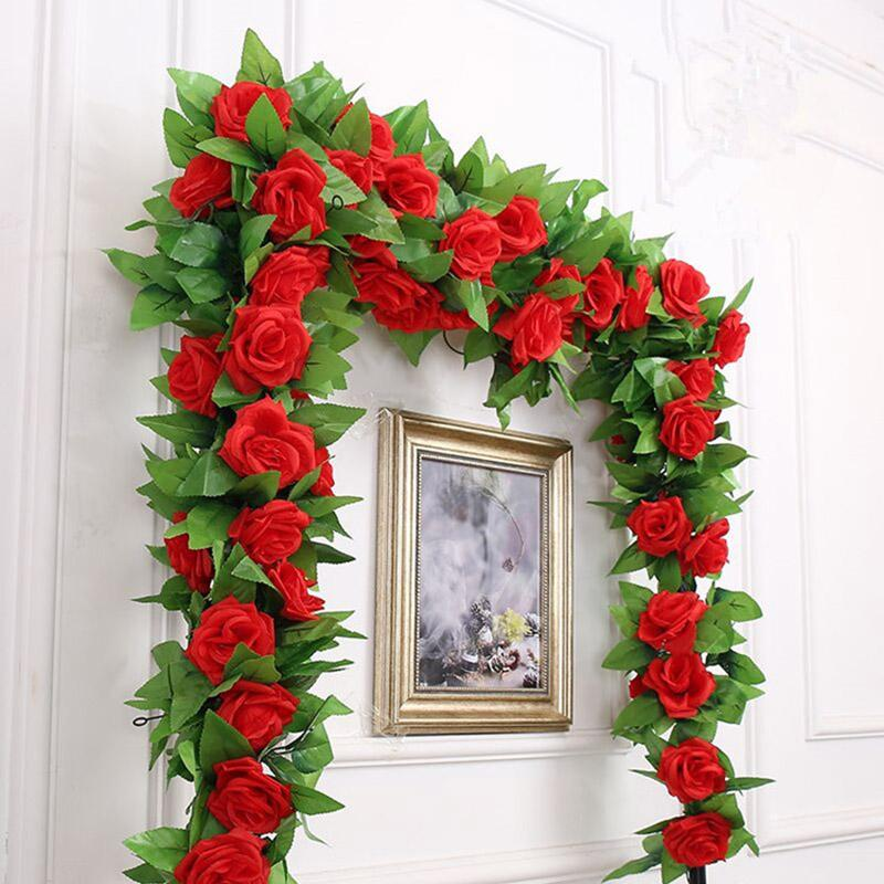250CM / lot seta rose vite dell'edera con foglie verdi per casa Wedding decorazione a foglia falso fai da te appeso Garland Fiori Artificiali