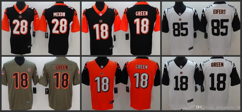 promo code 9ad33 d2f72 Cincinnati Men Bengals Jersey #18 A.J. Green 28 Joe Mixon 85 Tyler Eifert  Women Youth Limited Jerseys