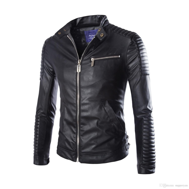 faa0b909cb7 M-4XL Men Fashion PU Leather Jacket Spring Autumn British Style Men ...