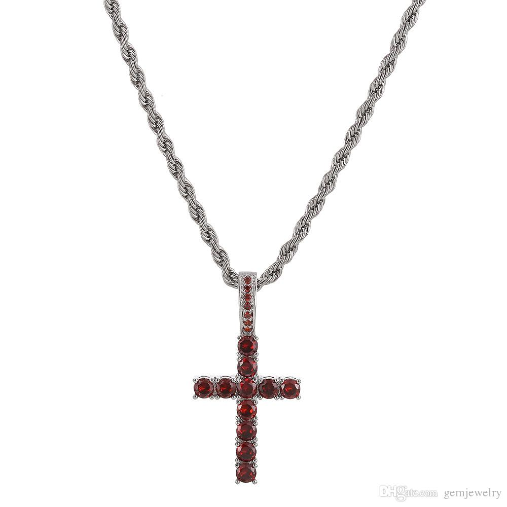 Hip Hop Gold Silver Red Cross Necklace Pendant With Rope Chain Gold Cubic Zircon Men Women Jewelry