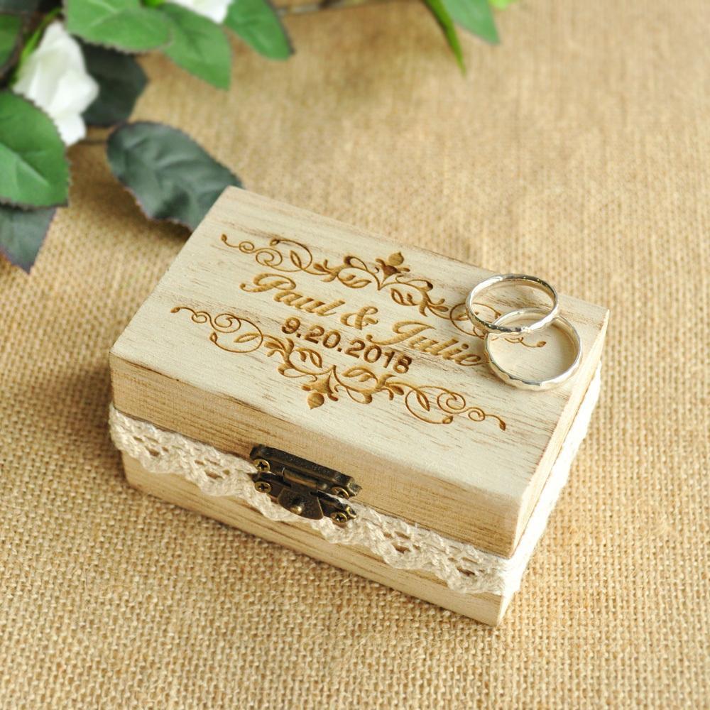 Wedding Ring Box.Custom Engraved Ring Box Wedding Ring Holder Box Personalized Wedding Ring Bearer Box C19021601