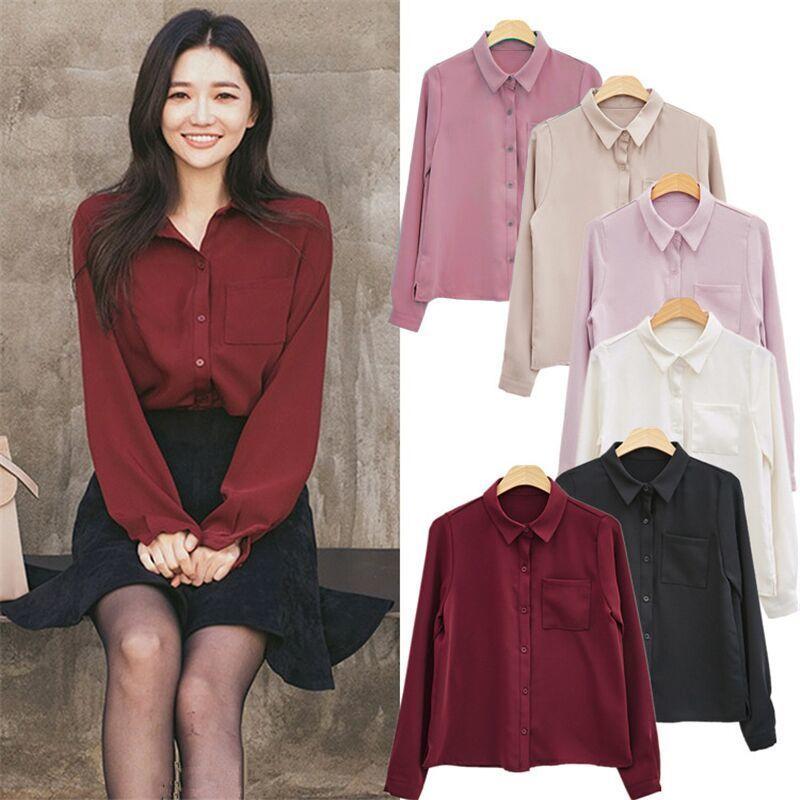 bce82f03d1fe Blusas Camisa de mujer Camisa de manga larga Casual Gasa Cuello boca abajo  Sólidas Mujeres Tops Camisa de moda coreana Camisas sueltas de un solo ...