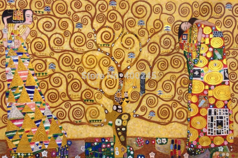 Portrait Art Oil Painting Canvas Gustav Klimt Reproduction For Living Room The Tree Of Life High Quality Hand Painted Golden