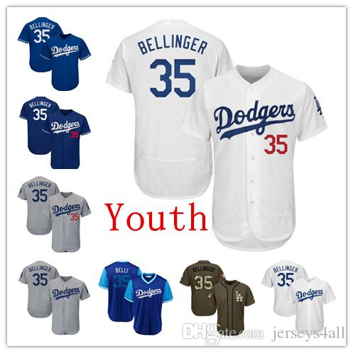 32f0e30b235 2019 Youth Kids Child Los Angeles Dodgers Baseball Jerseys 35 Cody  Bellinger Jersey White Blue Gray Grey Green Salute Players Weekend From  Jerseys4all