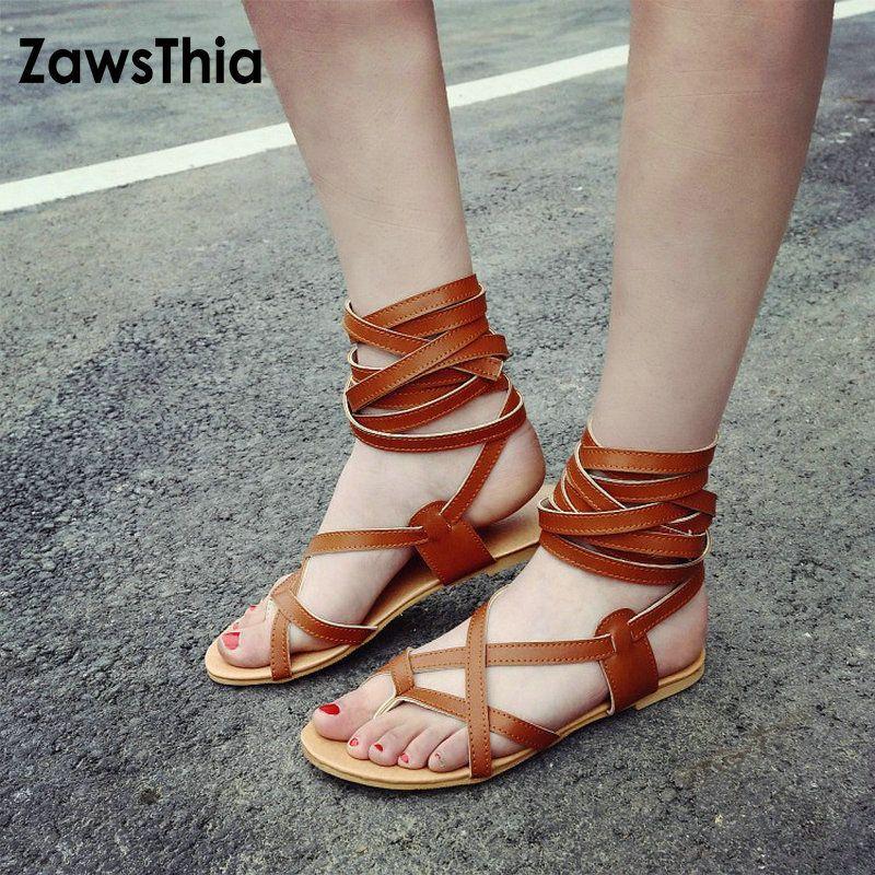 ZawsThia 2019 Summer Flip Flops Ankle Cross Strap Bandage Woman Flat Shoes  Sandalia Gladiadora White Gladiators Sandals Women Wedge Heels Pink Shoes  From ... 1e8bd977b31d