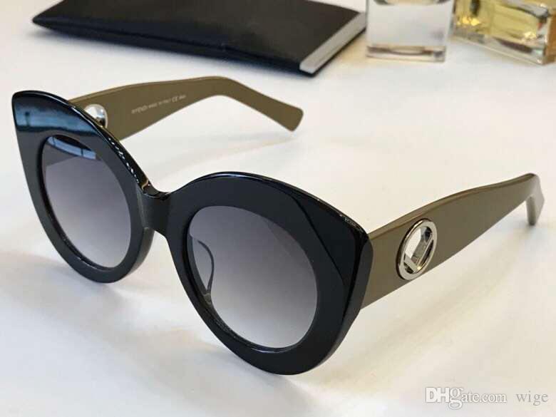 6322fb01f0708 Designer 0306 S Black Brown Cat Eye Sunglasses Grey Shaded 0306 ...