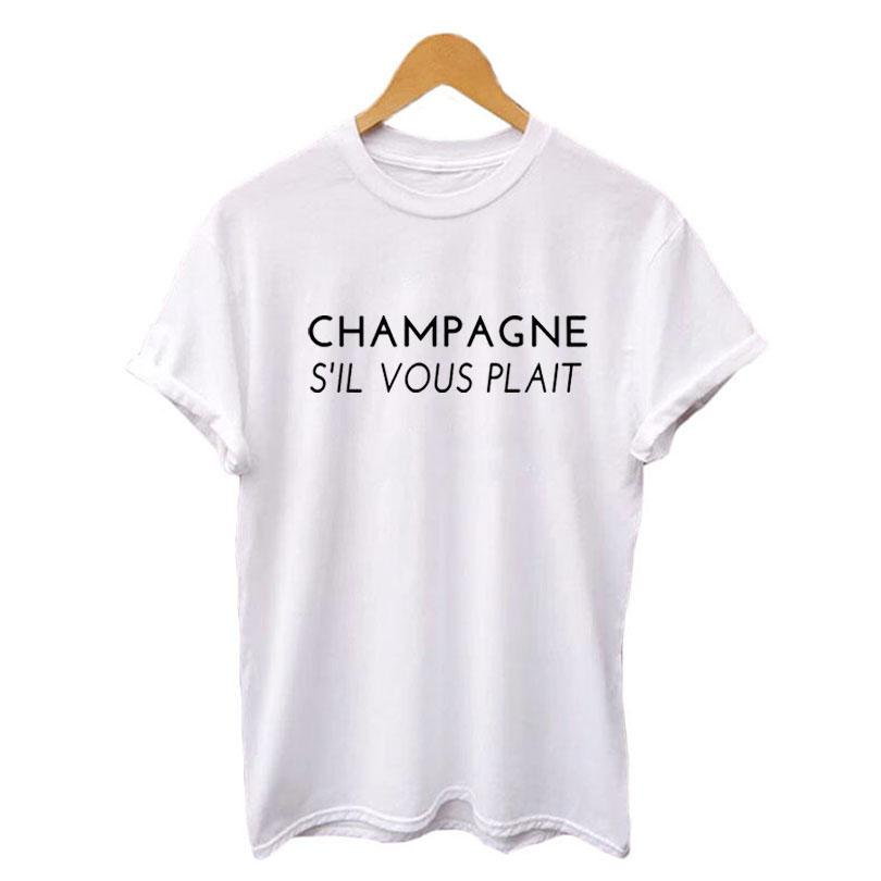Champagne S il Vous Plait Funny T Shirts Black White Hipster Party Tshirt Women Tops Fashion Champagne Saying Camiseta