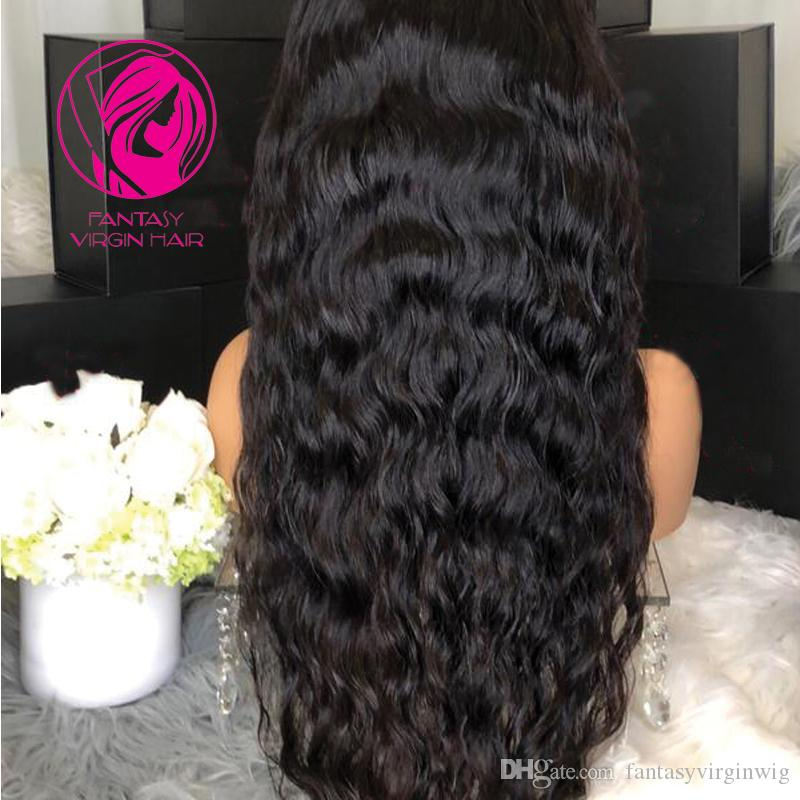 Fantasy Water Wave Full Lace Human Hair Wigs For Women Brazilian Remy Hair #1 Jet Black Lace Wig Pre-Plucked With Baby Hair