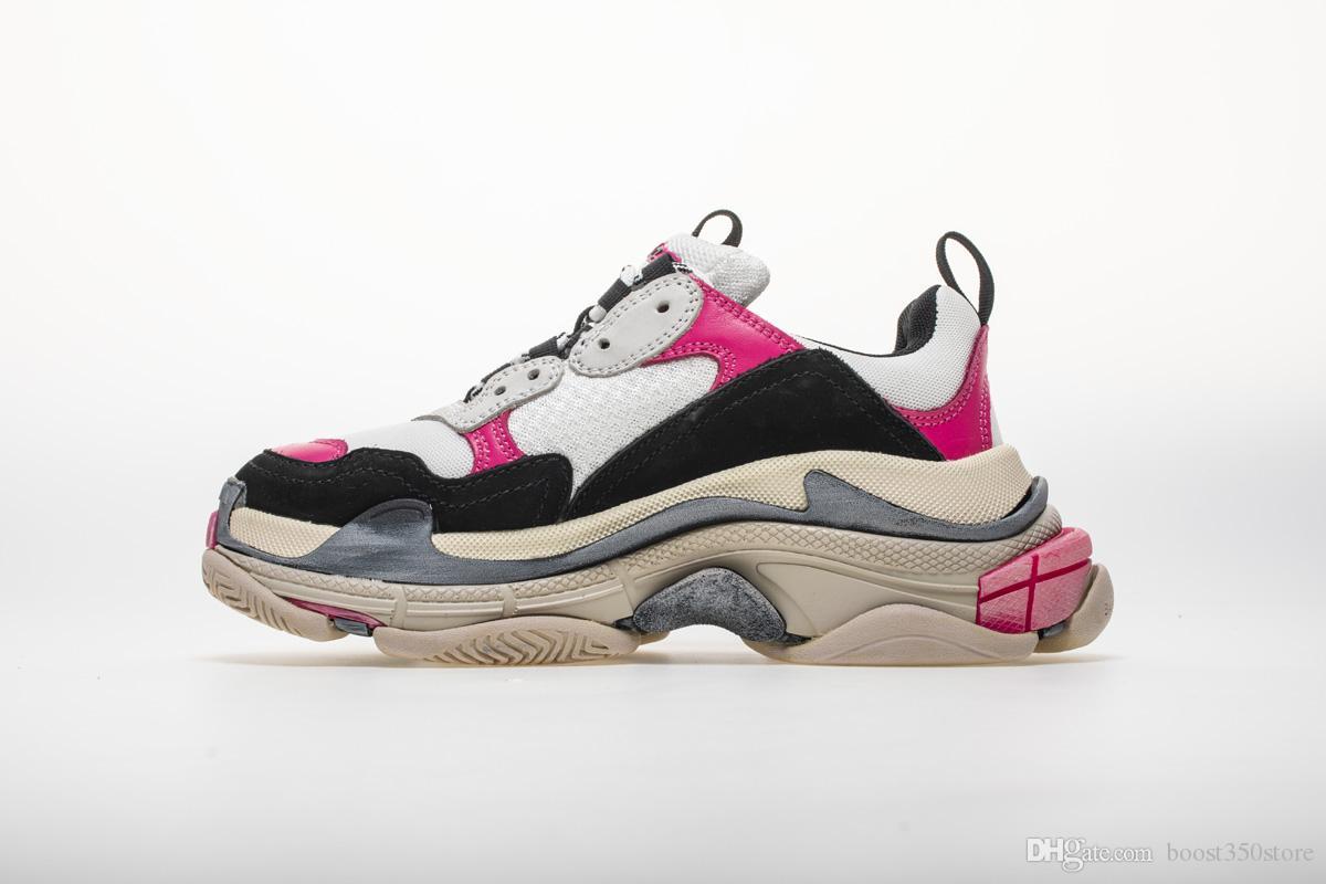 643a3e711b Mulheres Rosa Sapatilhas De Moda De Alta Qualidade Paris 17FW Triplo S  Sapatos De Grife De Esportes Triple S Sapatos De Tênis 7 Cores Tamanho 36  45 De ...
