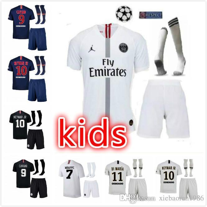 new product a91dc 0ad86 Champion League 18 19 PSG kids kit MBAPPE soccer jerseys 2019 CAVANI DANI  ALVES Paris saint germain child football shirt camisetas uniform