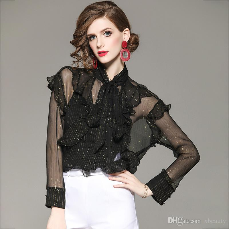 8c34d75d835b0c 2019 100% Silk Women s Runway Shirts Bow Collar Long Sleeves Striped ...
