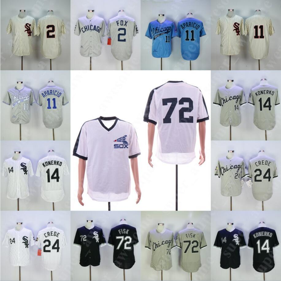 innovative design 34428 7b202 72 Carlton Fisk Jersey 14 Paul Konerko 24 Joe Crede 2 Nellie Fox 11 Luis  Aparicio White Sox Baseball Jerseys White Black Grey