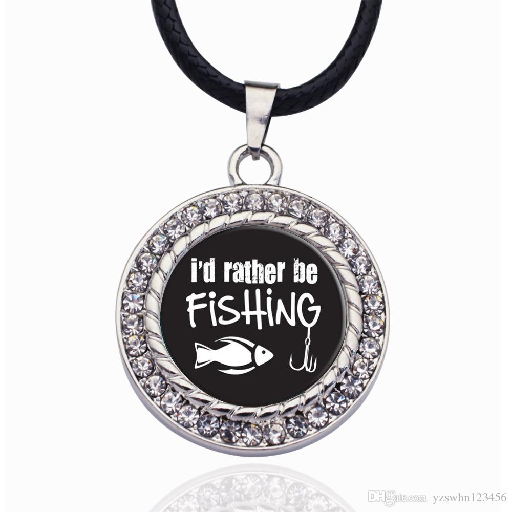 I'D RATHER BE FISHING CIRCLE CHARM Necklace Stars Ball Pendant Crystal Collares Chain Necklace For unisex