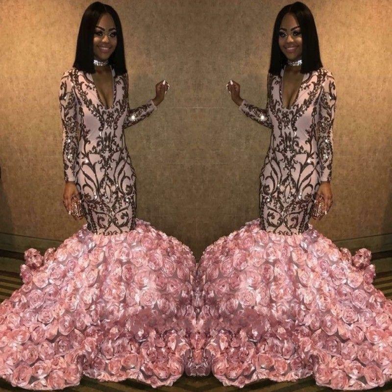 c9d42df265b4 Shinning Long Sleeves Evening Dresses Deep V Neck Appliques Sequins Bottom  Flower Train Mermaid Prom Dress Long Black Girls Party Gowns Shop Dresses  White ...