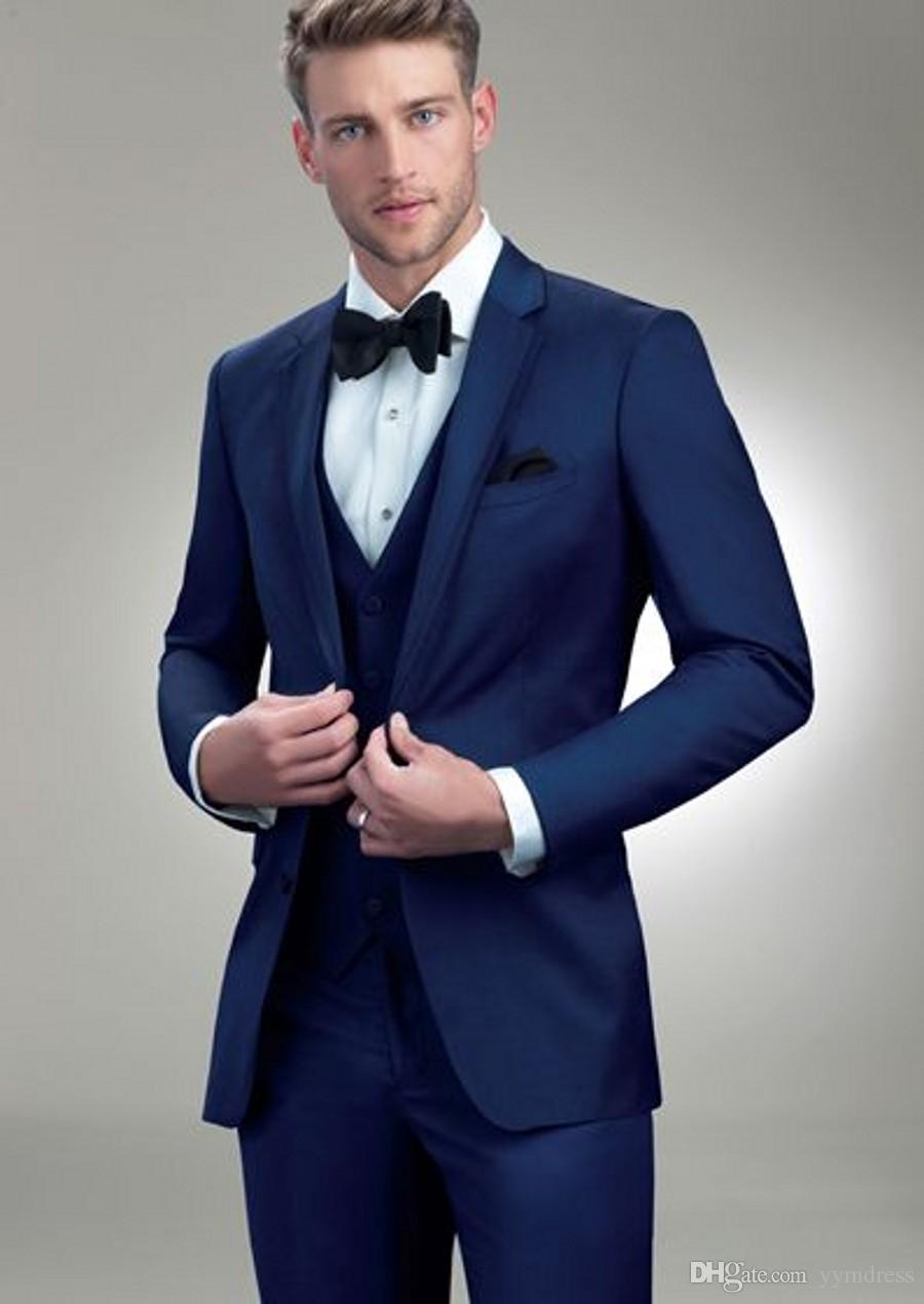Dark Blue Men Suits 2019 Two Buttons Notched Lapel Wedding Tuxedos Mens Designer Blazers Prom Suit Jacket Vest Pants Bow