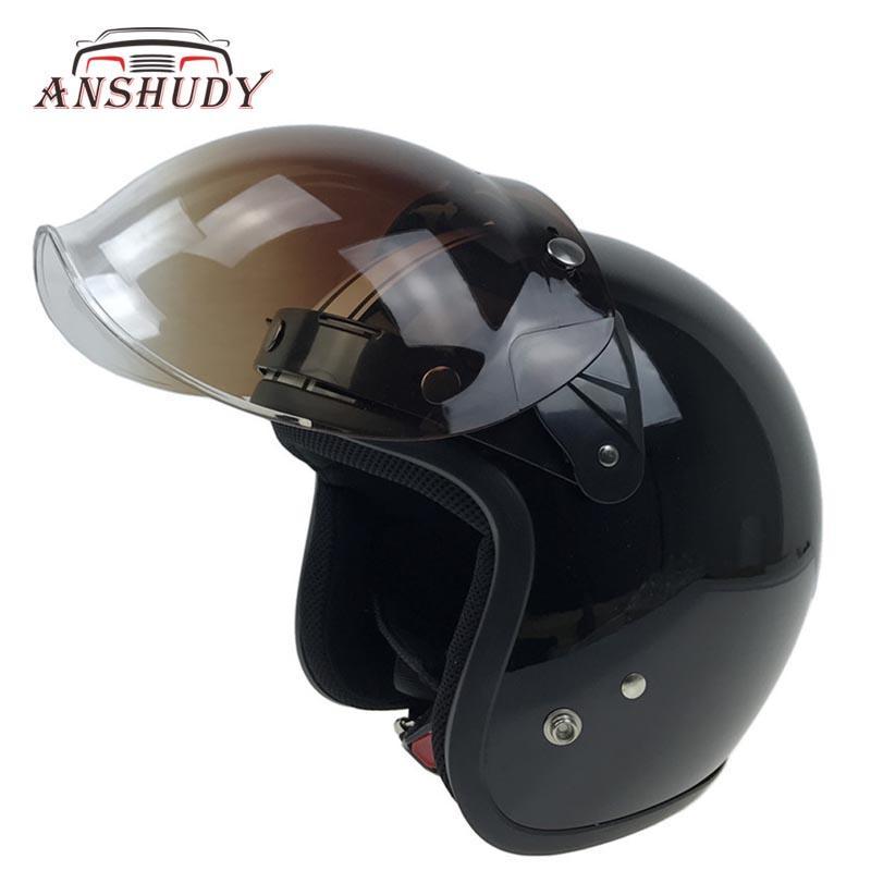 c27cb89000a31 Compre Casco De La Motocicleta Flip Up Lente Burbuja Visor Escudo Facial  Máscara Tres Botones Bitwell TORC Vintage Retro Moto Capacete Casco Casque  A  26.56 ...
