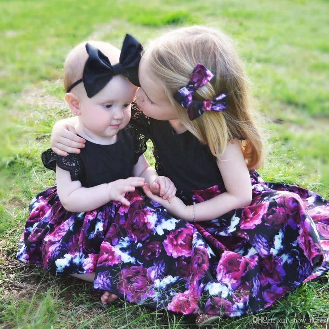 c319a9af1996 2019 0 7Y Toddelr Kids Baby Girls Sister Matching Floral Jumpsuit Romper  Dress Black Headband Outfits Clothes Set From Show times