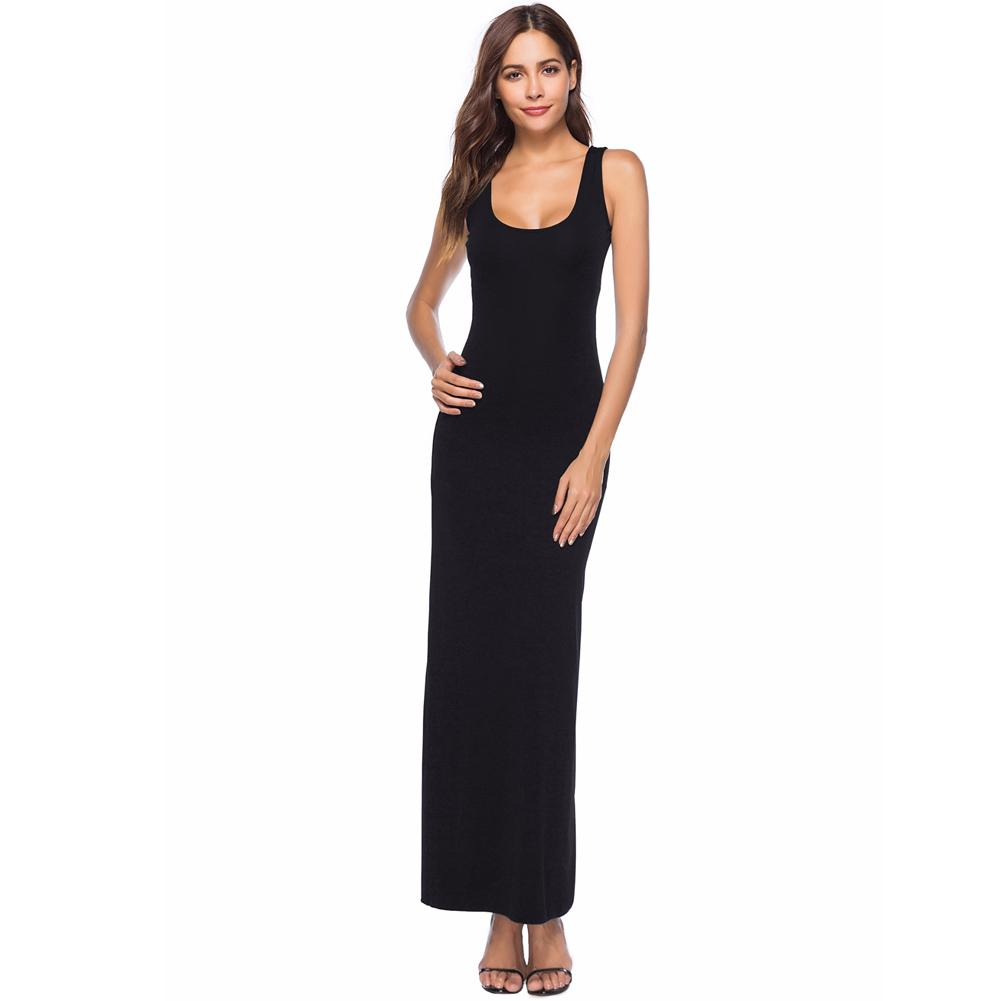 f2546cd89d Summer Sundress Women Plus Size Long Maxi Beach Dress Female Scoop Neck  Solid Color Casual Sleeveless Dress 2019 Vestidos Mujer Casual Long White  Summer ...