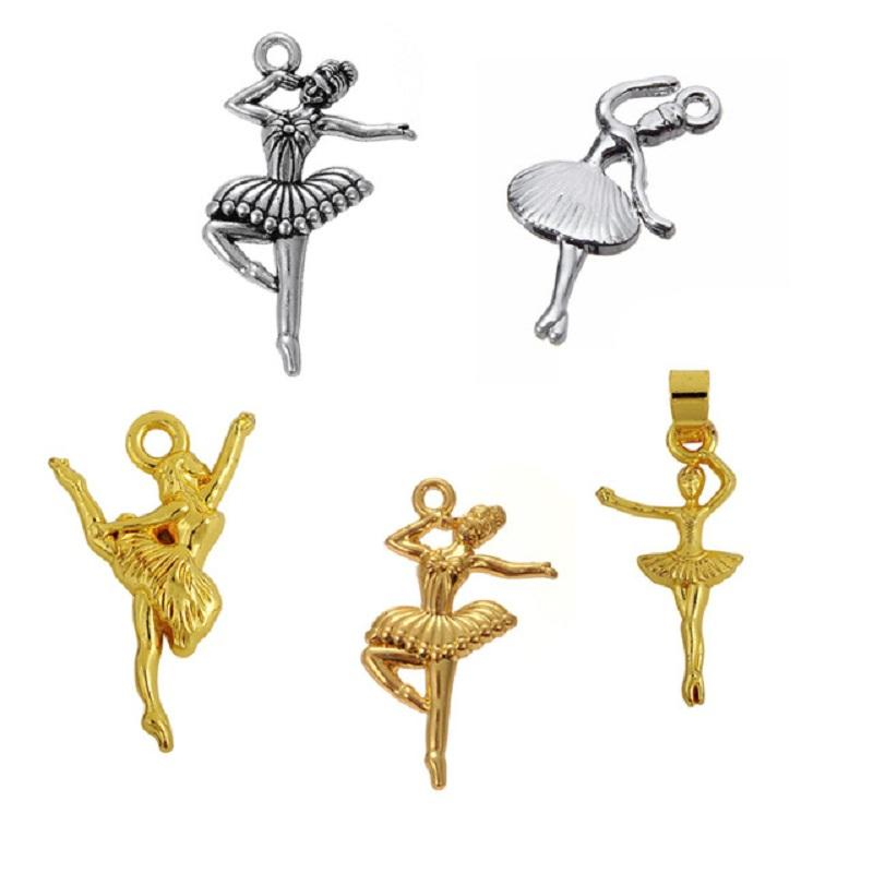 50PCS Making Handmade Ballerina Dancer Charms Dance Girl Pendant Charms Jewelry Fit For Bracelet&Necklace Charm Jewelry