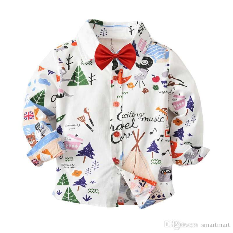 Cute Boys Cartoons Print White Shirts Tees with Bow Western Fashion Candy Color Spring Autumn Cute Children Blouse Tops