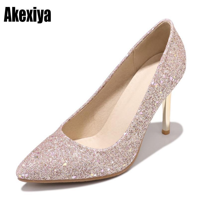 abd1304f4b8 Dress 2019 New Women Pumps Bling High Heels Women Pumps Glitter High Heel  Shoes Woman Sexy Wedding Shoes Silver Pink Gold Black D389