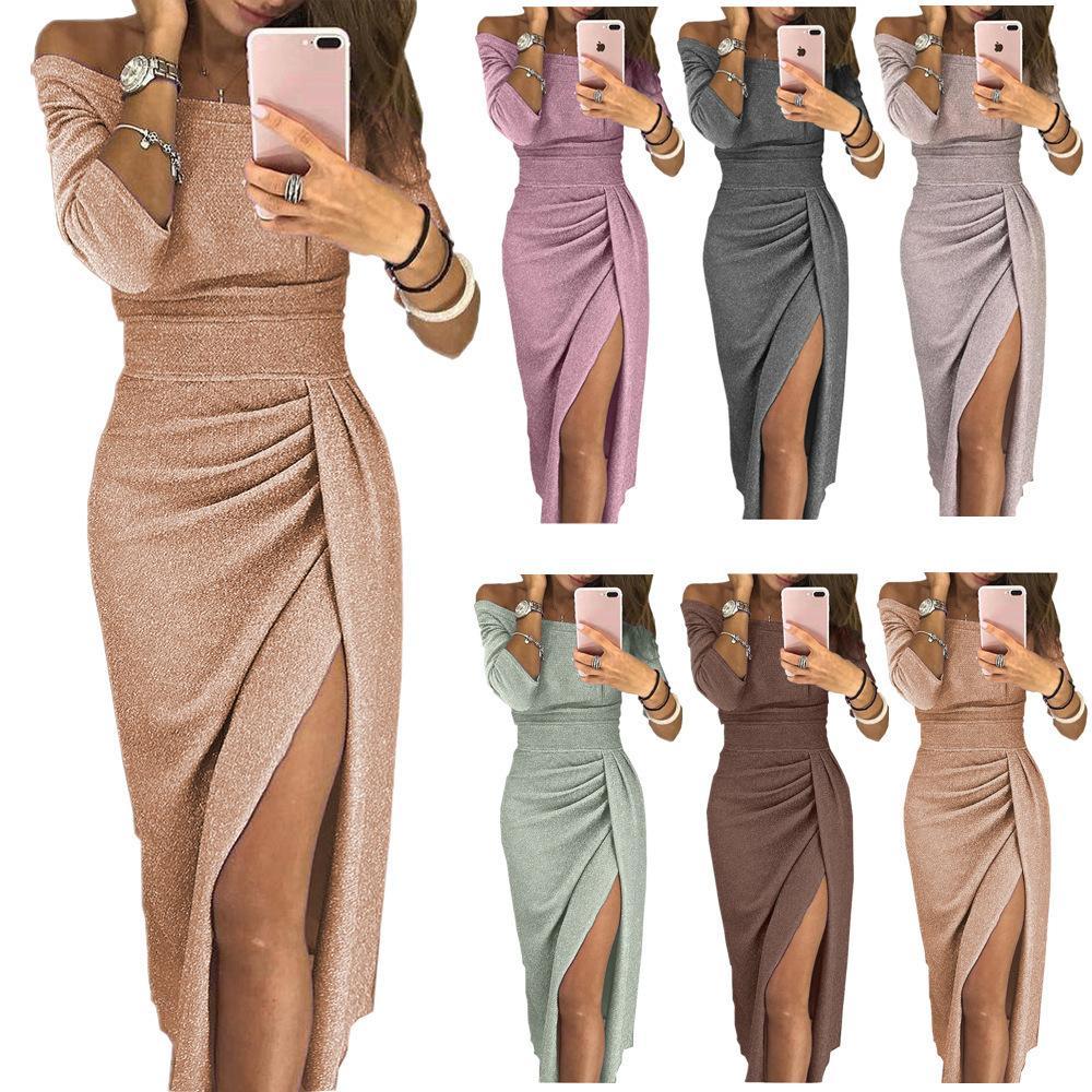 13e464e23 Compre Marca De Moda De Lujo Diseñador De Las Señoras Bolso De La Cadera  Abrir Un Vestido De Cuello Vestido De Cristal Brillante Falda De Noche Las  Mujeres ...