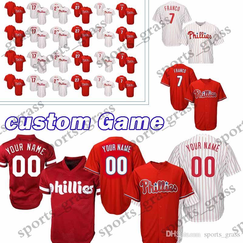 2019 Custom Game Philadelphia Phillies Baseball Jerseys 7 Maikel Franco 37  Odubel Herrera 96 Tommy Hunter 27 Aaron Nola 61 Edubray Ramos Jersey From  ... 9f4ba77291e