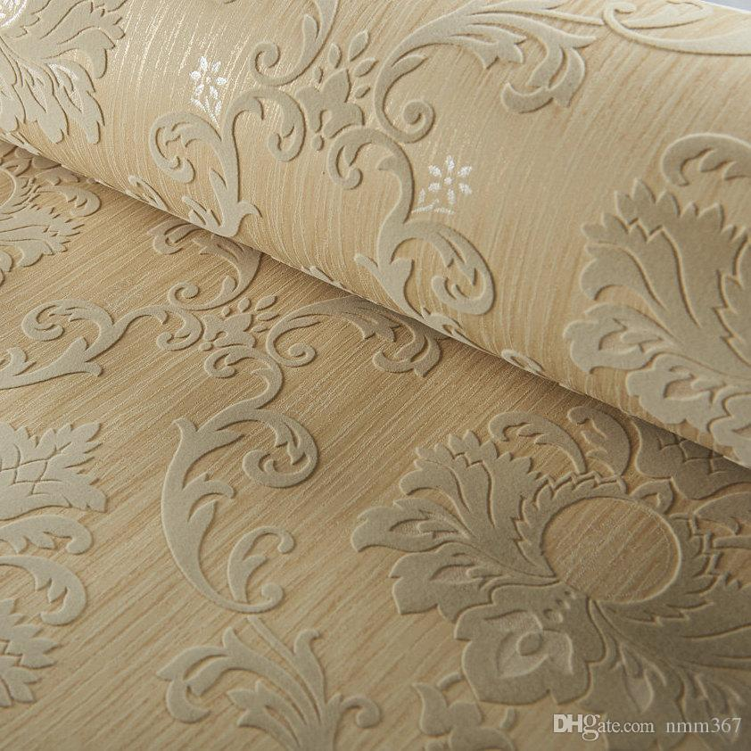 . Luxury Classic Wall Paper Home Decor Background Wall Damask Wallpaper  Golden Floral Wallcovering 3D velvet Living Room