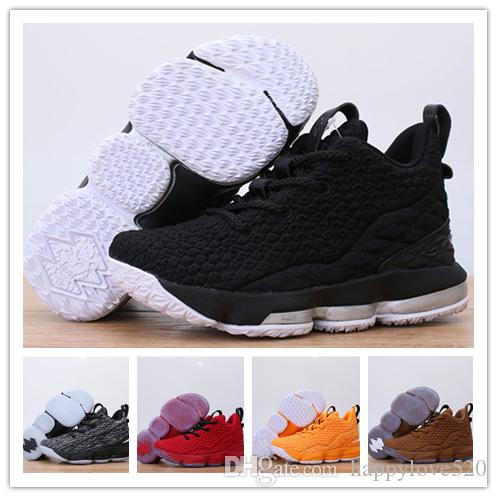 on sale 5d7fc 422dd (with box) Children kids Lebron 15 girl boy youth Basketball Shoes James  Multicolor Thru Oreo FRESH BRED trainers sports sneakers LBJ