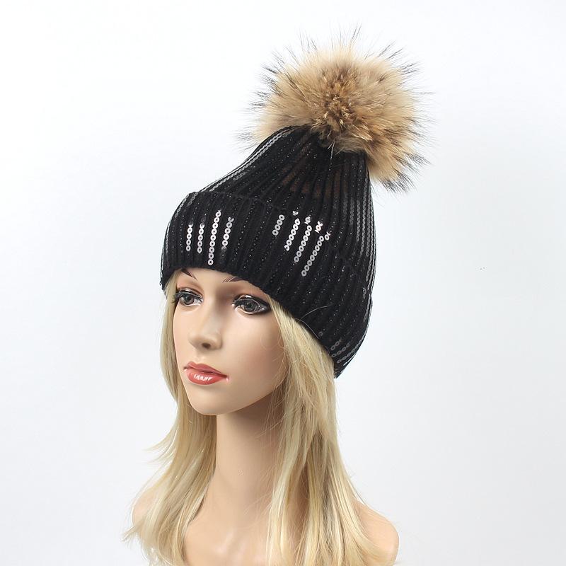 fd1fd9235b1 Big Natural Raccoon Fur Pom Pom Hat for Women Girl Shimmer Sequin ...